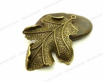Large Leaf Pendant 67x51mm Antique Bronze Tone Metal - Focal, Necklace Charm, Findings, Jewelry Supply, Ornate, Very Detailed - BF14