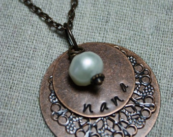 Handstamped Copper, Personalized Charm Necklace with Copper Filigree, One Freshwater Pearl, for Nana, Mimi, Mom, You Pick Name