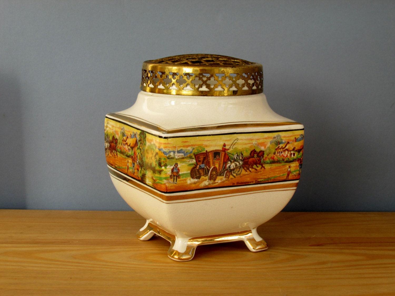 art deco rose bowl pot pourri bowl in by queensparkvintage. Black Bedroom Furniture Sets. Home Design Ideas