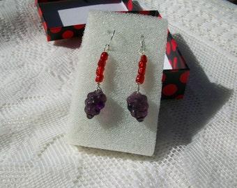 """Pierced Earrings, """" Grape Bunch """" Dangle Earrings, Glass Bead Earrings, Grape Bunch Earrings, Made by Isaac"""