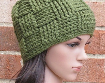 Crochet Beanie Hat - Basketweave Beanie Hat - Olive Green Beanie Hat - Winter Accessories // THE KENSINGTON //