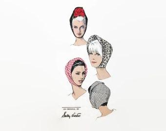 1960s Vogue Pattern 6605 / Hat / Mid Century Fashion / Hood / Millinery