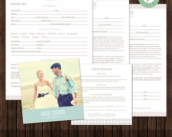 Basic Photography Business Forms, Booking Form, Minor Model Release, Model Release, Print Release - TEMPLATES - MK9D