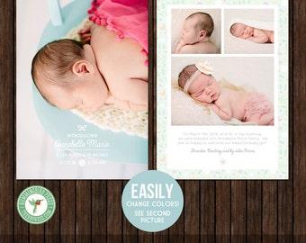 5x7 Birth Announcement Card Template - B2
