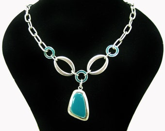 Pewter necklace pendant silver plated, turquoise lacquered pendant