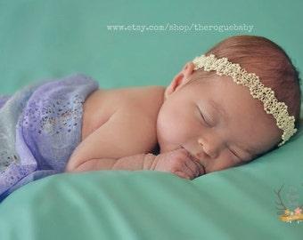 Cream & Pearl Tie Back Headband -  pearls crown Newborn Baby Halo Boho tie-back tieback head band