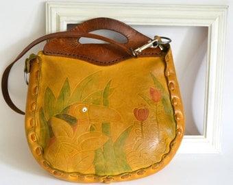 Vintage Leather Boho Purse Handbag Shoulder Hand Bag. Handles & Strap. Tooled Toucan Bird and Flowers. Tropical Hippie Bohemian