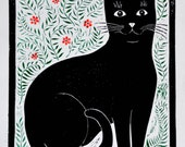 Woodcut print of black cat, limited edition