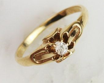 Antique 14k Gold Belcher Set Diamond Engagement Ring