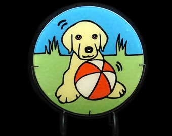 "Yellow Labrador Retriever Puppy/Yellow Labrador Retriever/ Yellow Lab Puppy/Dog/Puppy 8"" Tempered Glass Cutting Board."