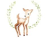 Fawn deer Art print Watercolor 5x7