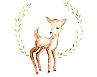 Fawn deer Art print Watercolor 5x7