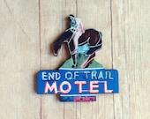Cowboy Brooch Neon Motel Retro Country Western