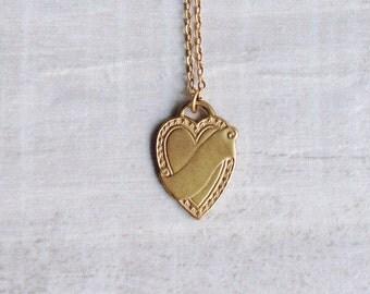 Heart Necklace Raw Brass