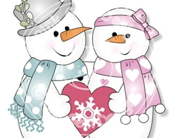 Digital (Digi) 'Chilly in Love' Stamp.Snowmen Couple.Makes Cute Christmas Cards