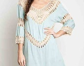 BOHO Crochet Knit Tunic/Dress in Sage