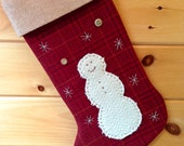 Personalized Christmas Stocking, Rustic Christmas Stocking, Cabin Stocking, Large Christmas Stocking, Wool Fabric Stocking, Snowman Stocking