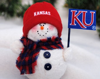 Kansas Jayhawks Snowman Ornament