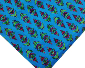 Indian Cotton Fabric - Floral Print in Turquoise, Fuchsia and Green - Block Printed Cotton Fabric by the Yard