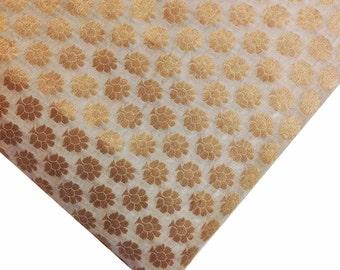 White and Gold Floral Pattern Chanderi Silk Fabric - Dress Fabric - Banarasi Art Silk Fabric by Yard
