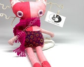 Stuffed Pink Calico Cat Doll with crocheted scarf, Handmade Soft Doll toy cat with pink eyes, Kitty Cat softie for kids, nursery animal