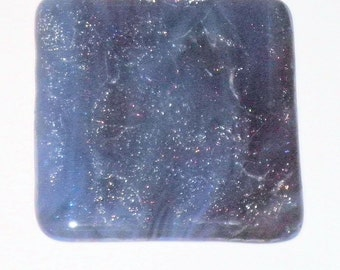 Fused Glass Coaster - Streaky Dark Blue and Plum Iridescent Crinkle Confetti