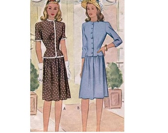 McCall 5151 Sewing Pattern 40s Vintage Women's Two Piece Suit Gathered Skirt Dart Fitted Jacket WWII Style Fashion Hollywood Glamour Bust 32