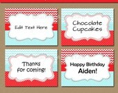 Aqua Red Chevron Buffet Cards, Tent Cards - Editable Printable Candy Buffet Labels - Diy Food Labels - Birthday Valentine's Day - INSTANT