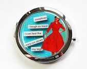 Funny compact mirror, Pocket mirror, Gift for her, purse mirror, retro, funny saying, compact mirror, pees when laughing, blue, red (4460)
