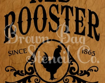 Red Rooster Brand Coffee  VERTICAL - 12x20 7.5 mil mylar stencil - French Stencil -