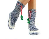 ON SALE \\ Cable Knit Long Socks, Handmade House booties, Gift Socks, Long Pompom Cute Slippers