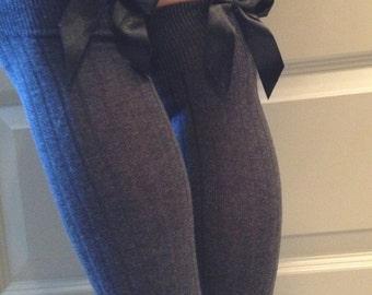 Grey Boot Socks : Black Bows - Over the Knee Knit Socks