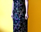 Black Velvet Asian Inspired Dress with Floral Print  Gold Lavender and Green Floral Embroidery and Accessories
