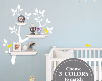 The ORIGINAL Tree Branch Decal for Floating Shelves - Nursery Storage - Wall Organizer - Tree Wall Decals