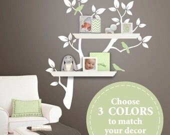 The ORIGINAL Tree Branch Decal for Floating Shelves - Tree Bookshelf Wall Decals