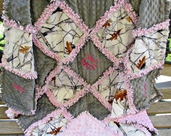 White Snowfall Camouflage with Gray and Pink Minky Rag Quilt/Baby Rag Quilt/Toddler Rag Quilt