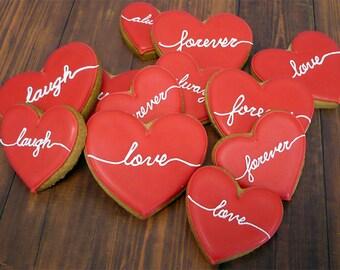 Decorated Cookies - Hearts - Script Message - 1 DOZEN