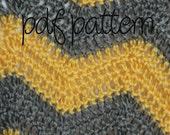 Crochet Pattern PDF - Beginner Easy - Sunshine Yellow and Grey Chevron Baby Afghan Blanket