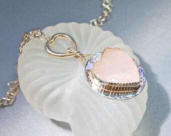Heart Pendant Necklace . Rose Quartz and Silver