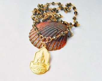 Gold Buddha Necklace . Pyrite Beaded Chain