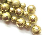 Gold Acrylic Beads Gilded Matte Round Beads 12mm & 8mm - 20 pieces