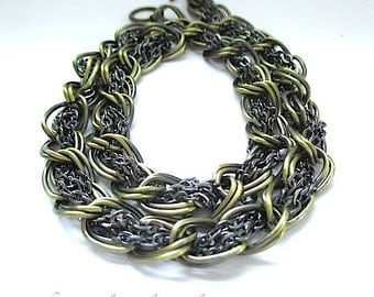 Mixed Metal Chain, Antique Brass, Gunmetal Gray Silver, Heavy Metal Chain, Woven Chain, Chainmaille Weave, Two Tone Chain 17 Inches SP