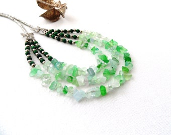 Fluorite Gemstone Chips and Jade Beads Necklace - Green Necklace - Layered Necklace -Tibet Silver and Gemstone Necklace