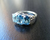 15% Off Sale.S166 Made to Order...New Sterling Silver  Multistone Ring With 3 Carats of Natural Swiss Blue Topaz  Gemstone