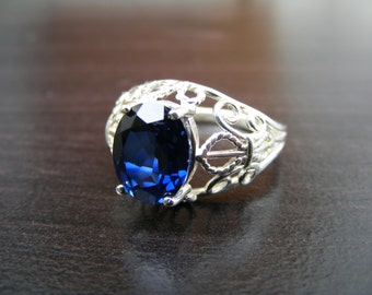 15% Off Sale.S316 Made to Order...New Sterling Silver Fleur De Lis Filigree Ring With 4 Carat Lab Sapphire Gemstone