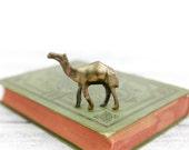 Vintage Miniature Brass Camel, Primitive Design