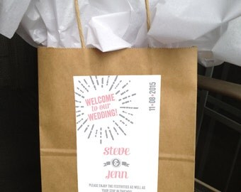 Printable Starburst Modern Wedding Welcome Bag Labels  -  LOVELY LITTLE PARTY