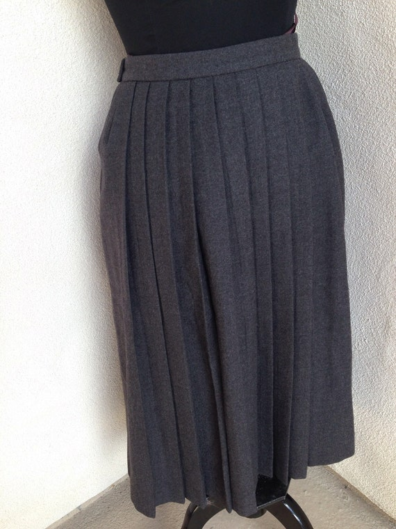 vintage preppy classic gray wool pleated skirt by alan