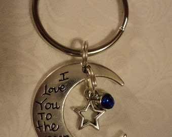 I love you to the moon and back key chain with charms