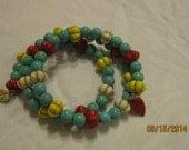 Bangle Bracelet Turquoise Carnellian Jade Beads